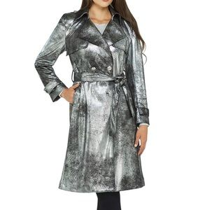 PETER NYGARD Silver Foil Suede Lamé Trench Coat